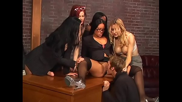 busty-bosses-have-horny-dude-deep-throat-their-strap-on