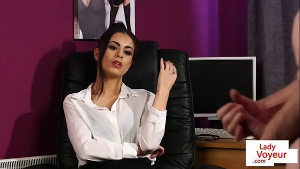 british-cfnm-office-babe-instructs-jerkoff